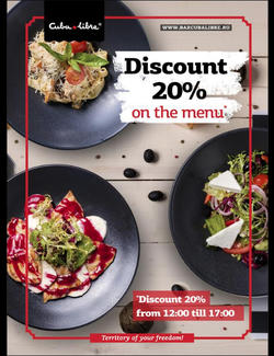 Discount 20% on the menu